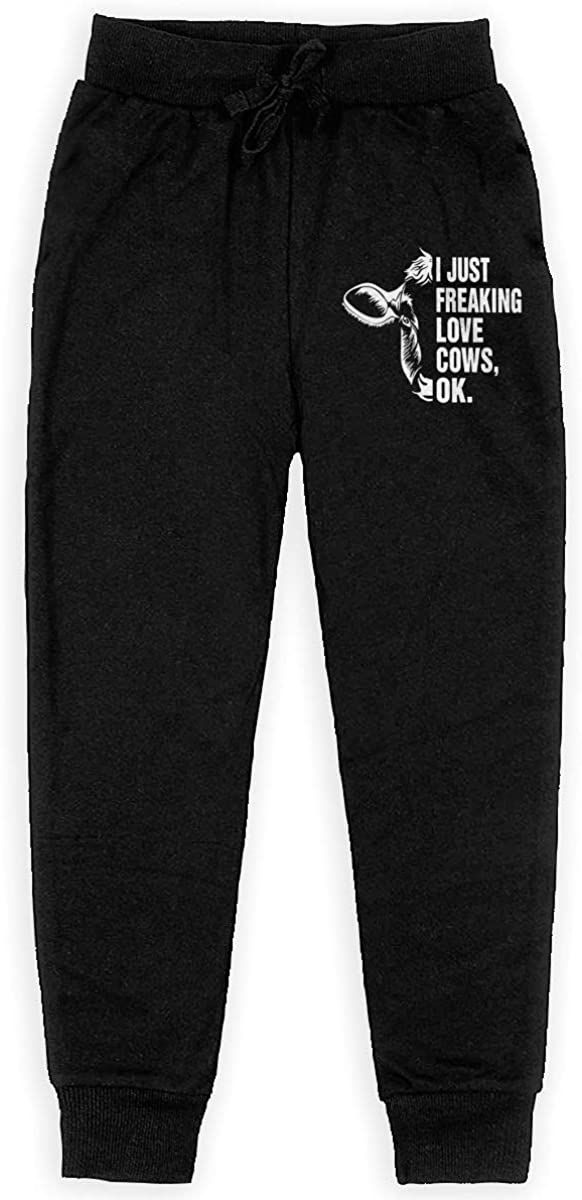 Ok Joggers Sport Training Pants Trousers Black Boys Sweatpants I Just Freaking Love Cows