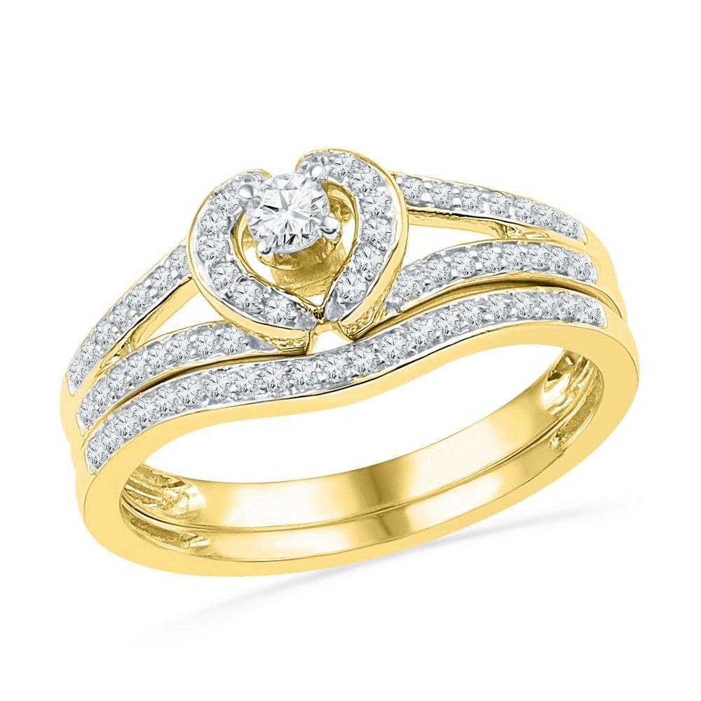 10kt Yellow Gold Womens Round Diamond Heart Bridal Wedding Engagement Ring Band Set 1/3 Cttw