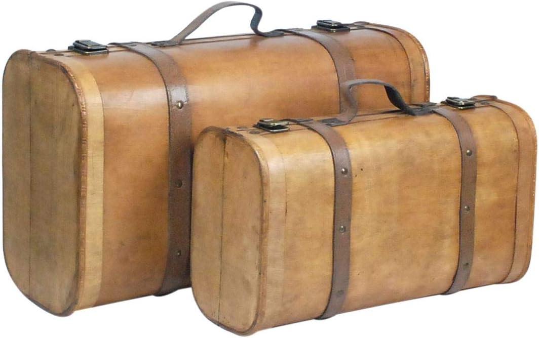 CAPRILO. Set de 2 Cajas Decorativas Vintage de Madera y Polipiel Maleta. Botelleros. Cajas Multiusos. Menaje de Cocina. Regalos Originales. 50 x 30 x 19,50 cm.