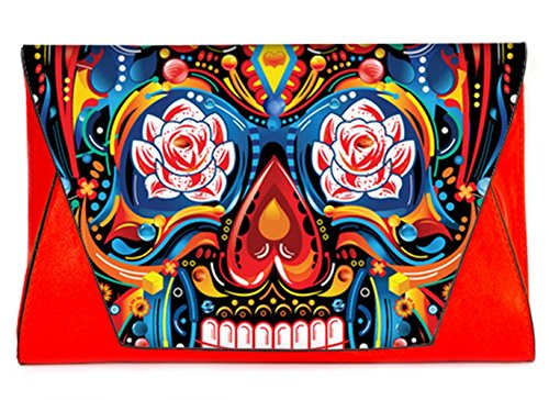 the with Fashion Dead Sugar of Handbags Leather Envelope Colorful Female Bag Day Pattern Sugar Skull Bags13 Clutch Clutch wxAYzwrq