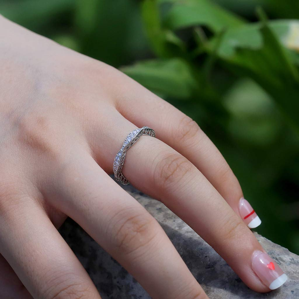 Sterling silver ring filigree floral band solid 925 with cubic zirconia