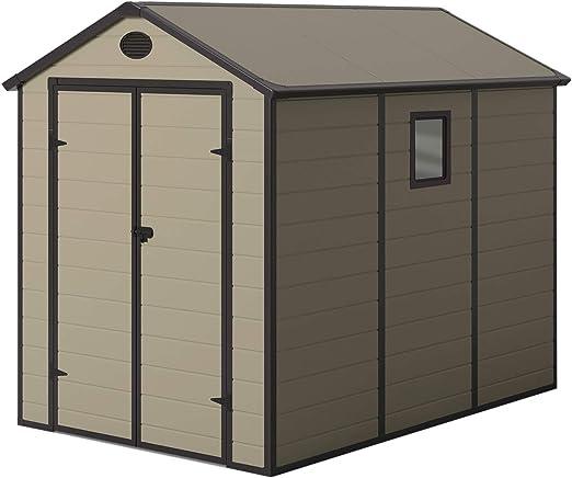Gardiun KSP38190 - Caseta de Resina Graciella Crudo/Marrón 5, 23 m² Ext. 278x188x225 cm: Amazon.es: Jardín