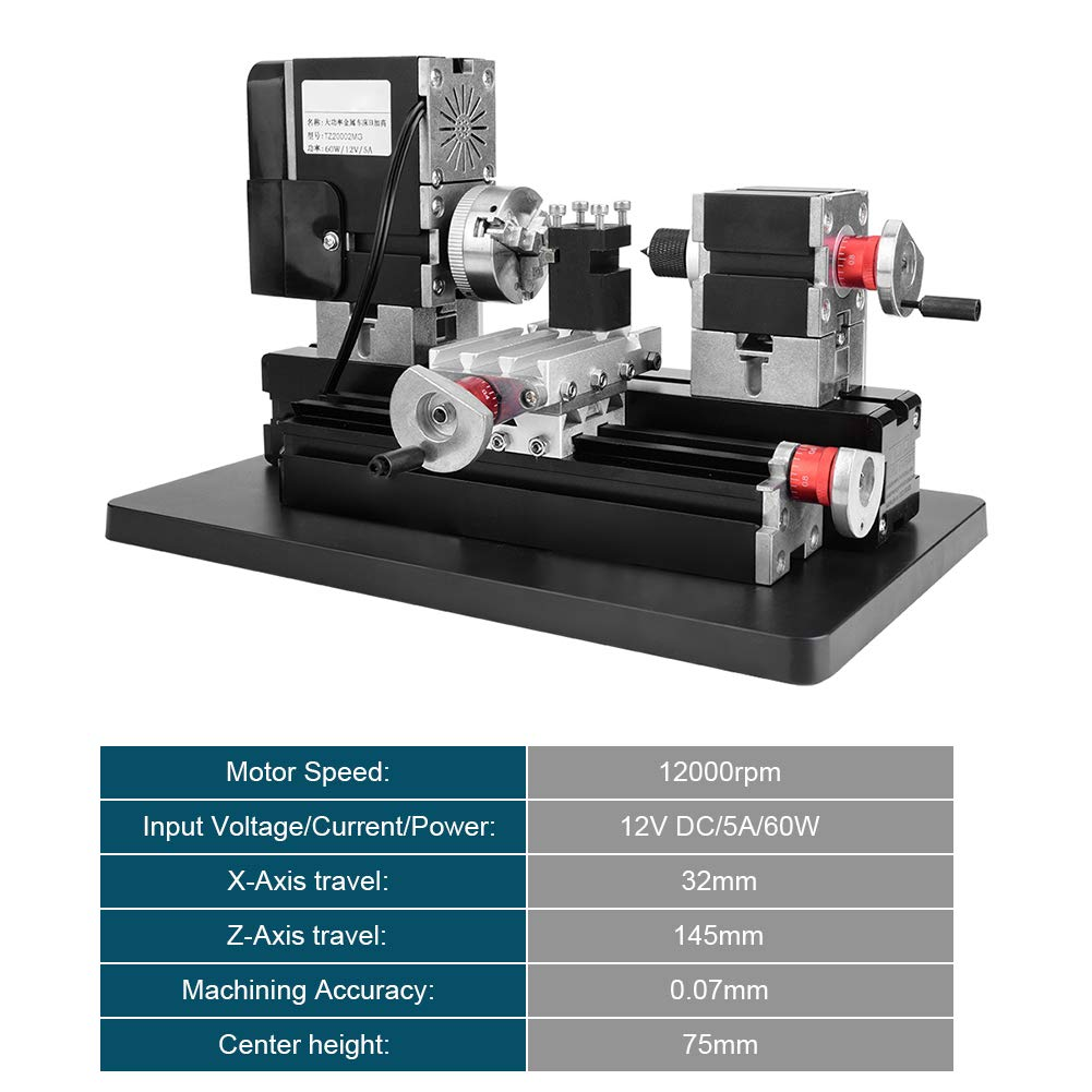 Mini Lathe 12000Rpm 60W, Mini Powerful Motorized Metal Working Lathe 12V DC/5A Machine DIY Tool Metal Woodworking Tool,with Hss Turning Tool, Belt Protection Cover