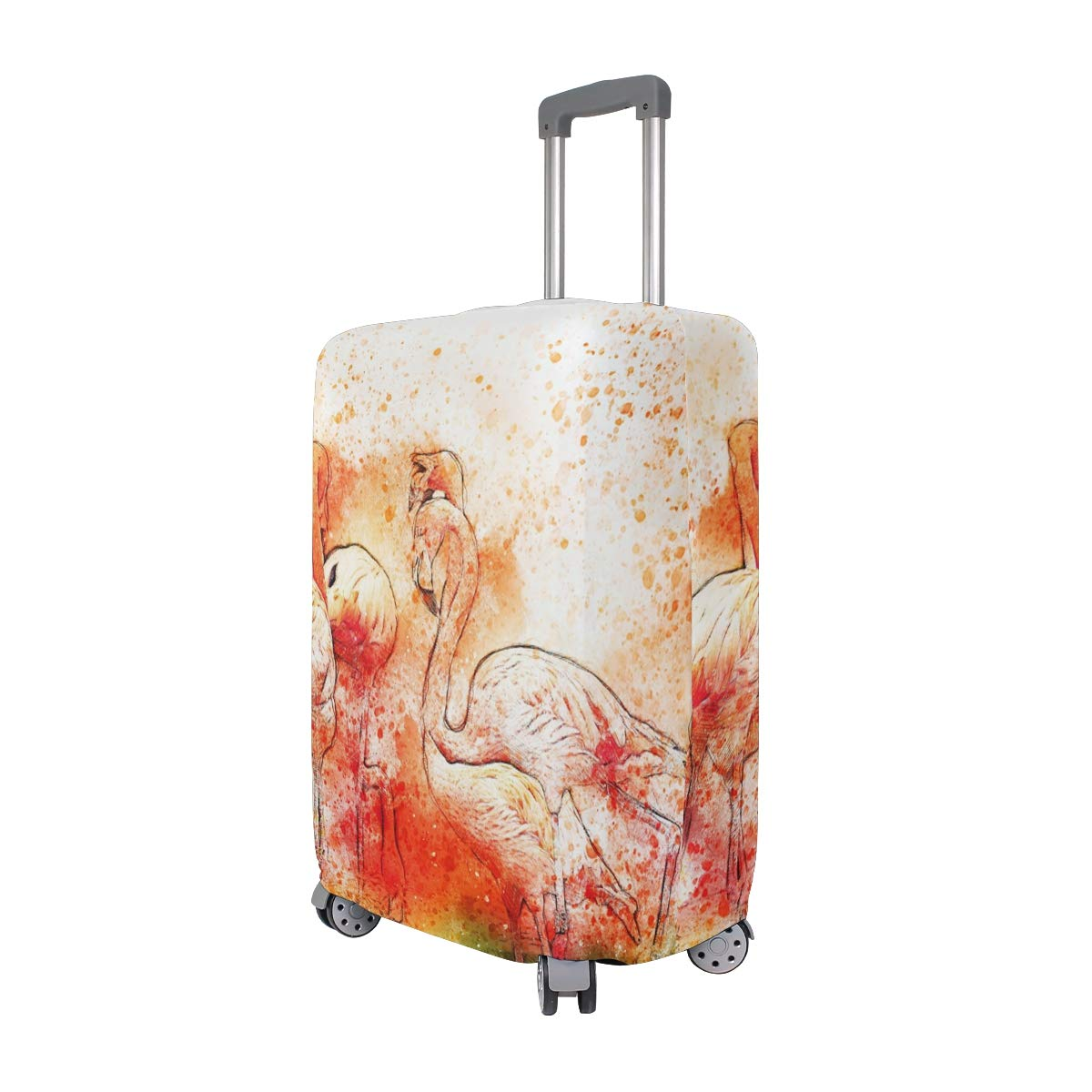 Bird Flamingos Feathers Watercolor Animal Colorful suitcase cover elastic suitcase cover zipper luggage case removable cleaning suitable for 29-32 trunk cover