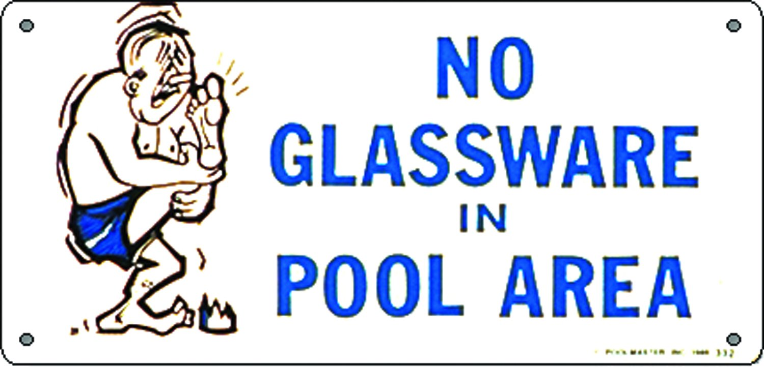 Poolmaster 41332 No Glassware Sign for Residential Pools
