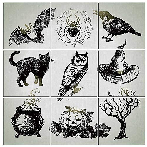 Vintage Halloween Canvas Wall Art,9 Pieces,Halloween Related Pictures Drawn by Hand Raven Owl Spider Black Cat Decorative Painting Prints Giclee Art Work for Home Office Kitchen Framed Ready to -