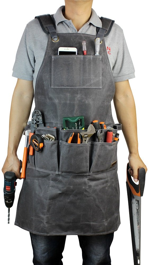 Working Tools Apron,Waxed Canvas Work Bib Aprons with Pockets,Full Coverage Utility Apron,Hand Tool Organizers,Carpentry Lawn Care Accessories for Women and Men-Gray