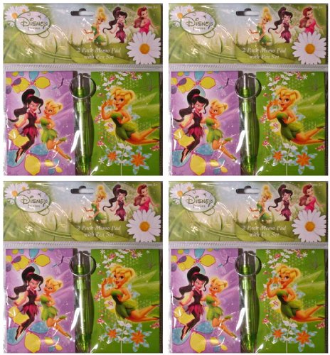 Disney Pixar (4 Pack) Tinkerbell 2 Piece Memo Pad Set With Pen (Memo Pads Tinkerbell)
