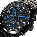 Mens Luxury Black Steel Date Round Dial Quartz Wrist watch Water Resist Sports Men Quartz Watch