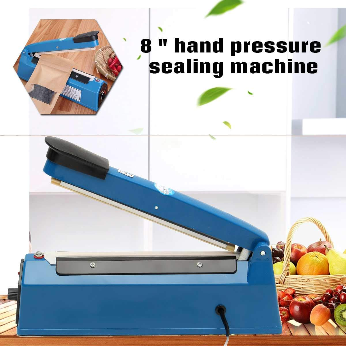 "220V 300W Hand Pressure Food Sealer Packaging Machine Plastic Film Sealer Machine 8"" Manual Impulse Heat Sealer Poly Bag Machine"