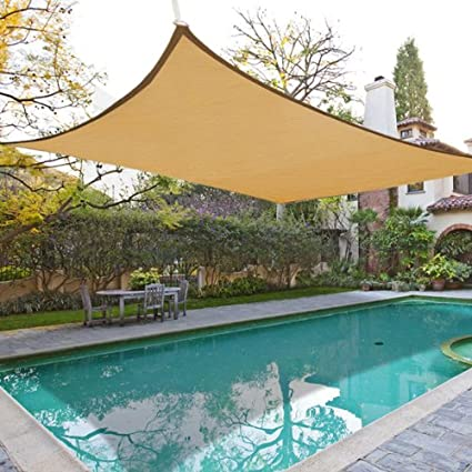 Oversized 18\' Square Feet Desert Sand Color Outdoor Sun Shade Sail Canopy  w/ Ropes Carabiners Bag UV Block Shelter Patio Swimming Pool Party Camping  ...