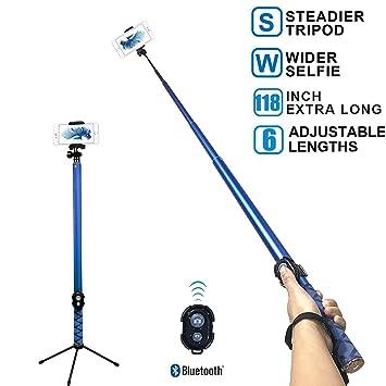 Topfit Palo de selfie largo, extensible, plegable, palo ...