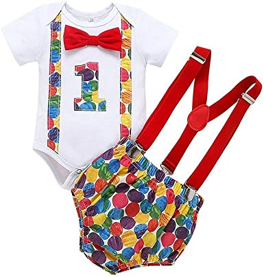 Baby Boys Formal Suit Set 1st Birthday Cake Smash Outfit Romper Bodysuit Onesies Bowtie Cartoon Bloomers Adjustable Suspenders Clothes for Photo Photography Set