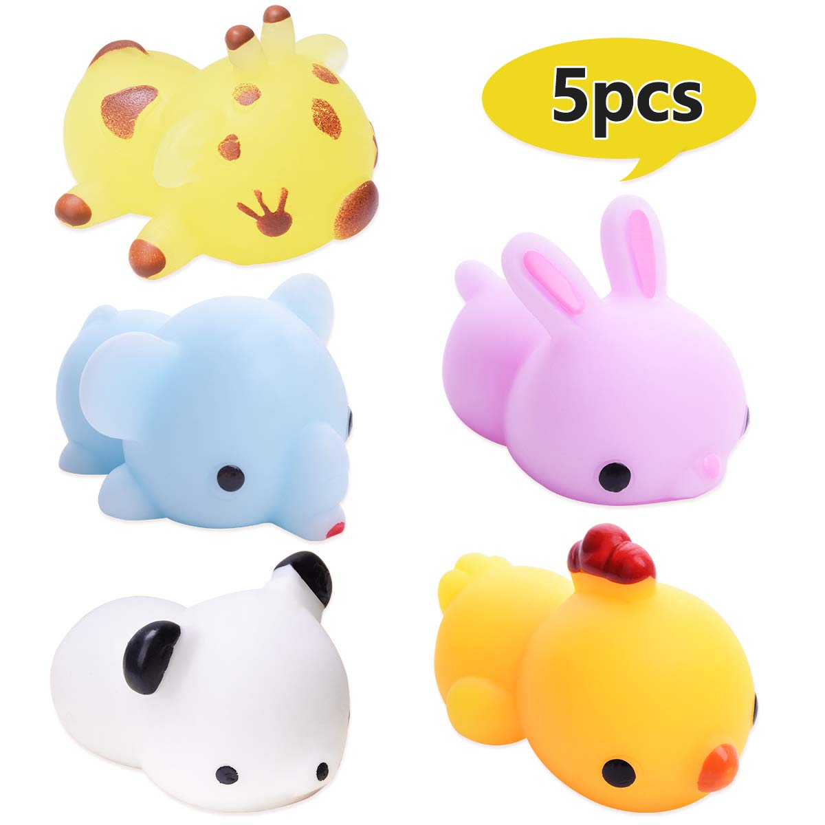 LEEHUR 5Pcs Advanced Mochi Squishy Toys Animal Party Favors Prizes Squishies Squeeze Kawaii Funny Soft Stress and Anxiety Relief ADHD ADD for Kids Adults Relief School Prizes