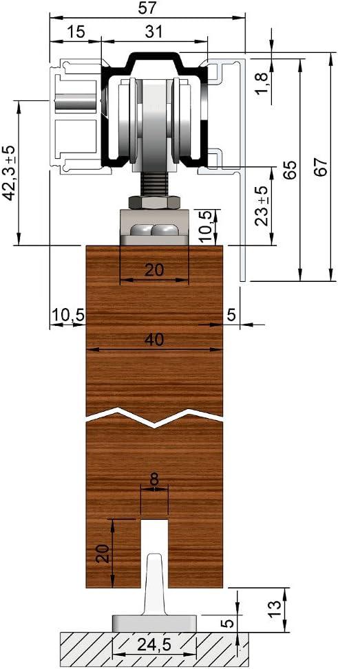 Helm 73W-200BE1S1 Schiebet/ürbeschlag 200 cm SmartStop Blende Edelstahl-Effekt eloxiert f/ür Wandbefestigung