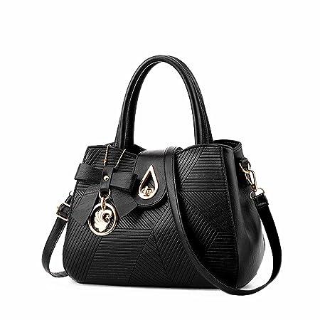NICOLE DORIS 2018 New Fashion Handbag Womens PU Leather Shoulder Bag  Messenger Bag Fashion Ladies Satchels Office Bag with Beautiful Adornment  (Black)  ... 17670669c7a07