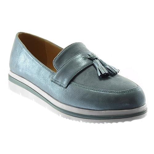 Angkorly Zapatillas Moda Mocasines Slip-on Bimaterial Metalizado Mujer Fleco Pompom Brillantes Plataforma 3 CM: Amazon.es: Zapatos y complementos