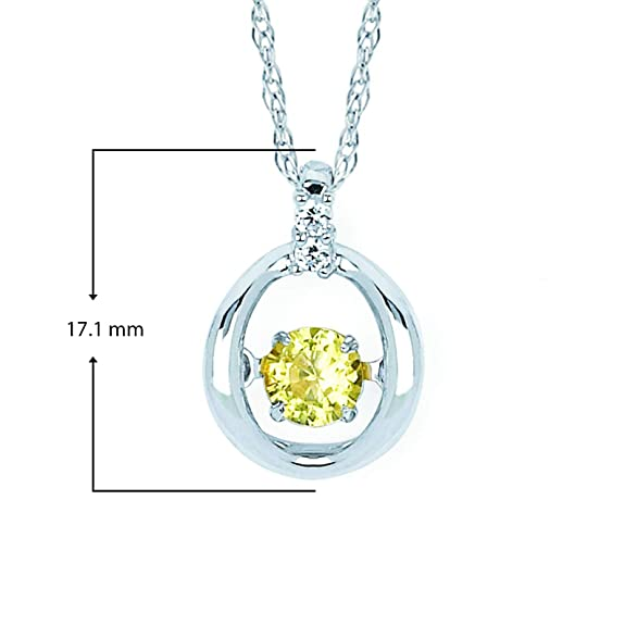 FB Jewels Solid 10k White Gold Genuine Birthstone Round Gemstone And Diamond Heart Pendant 0.28 Cttw.
