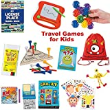 20 Piece Travel Activity Games Bag for Boys and Girls | Traveling Games for Kids in Car and on Airplane | Educational Games and Activities for Family Fun and Independent Play with Storage Backpack
