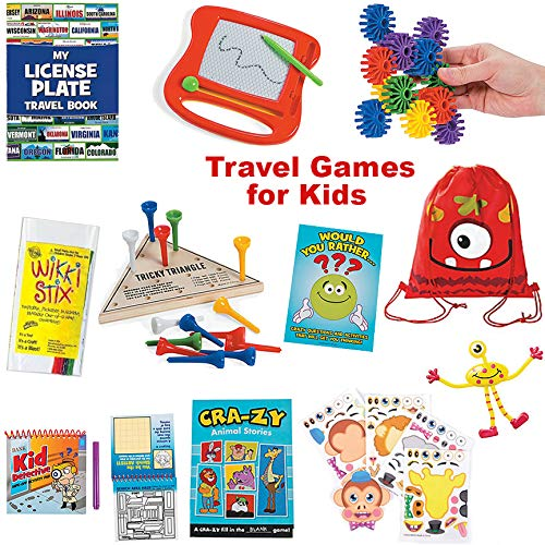 20 Piece Travel Activity Games Bag for Boys and Girls   Traveling Games for Kids in Car and on Airplane   Educational Games and Activities for Family Fun and Independent Play with Storage Backpack