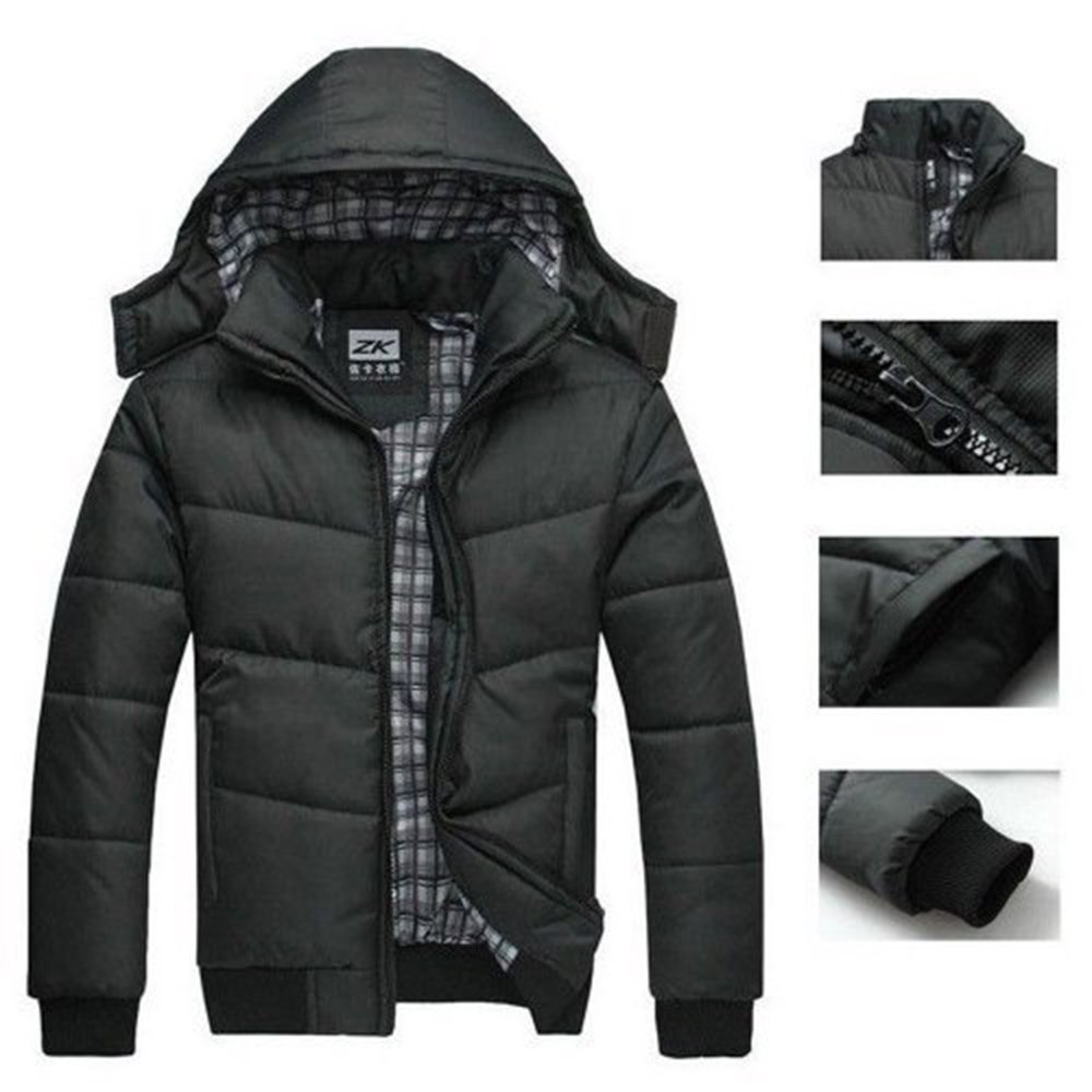 Imixshopps 2018 Fashion Men Warm Hoodie Coat Parka Winter Coat Outwear Down Jacket
