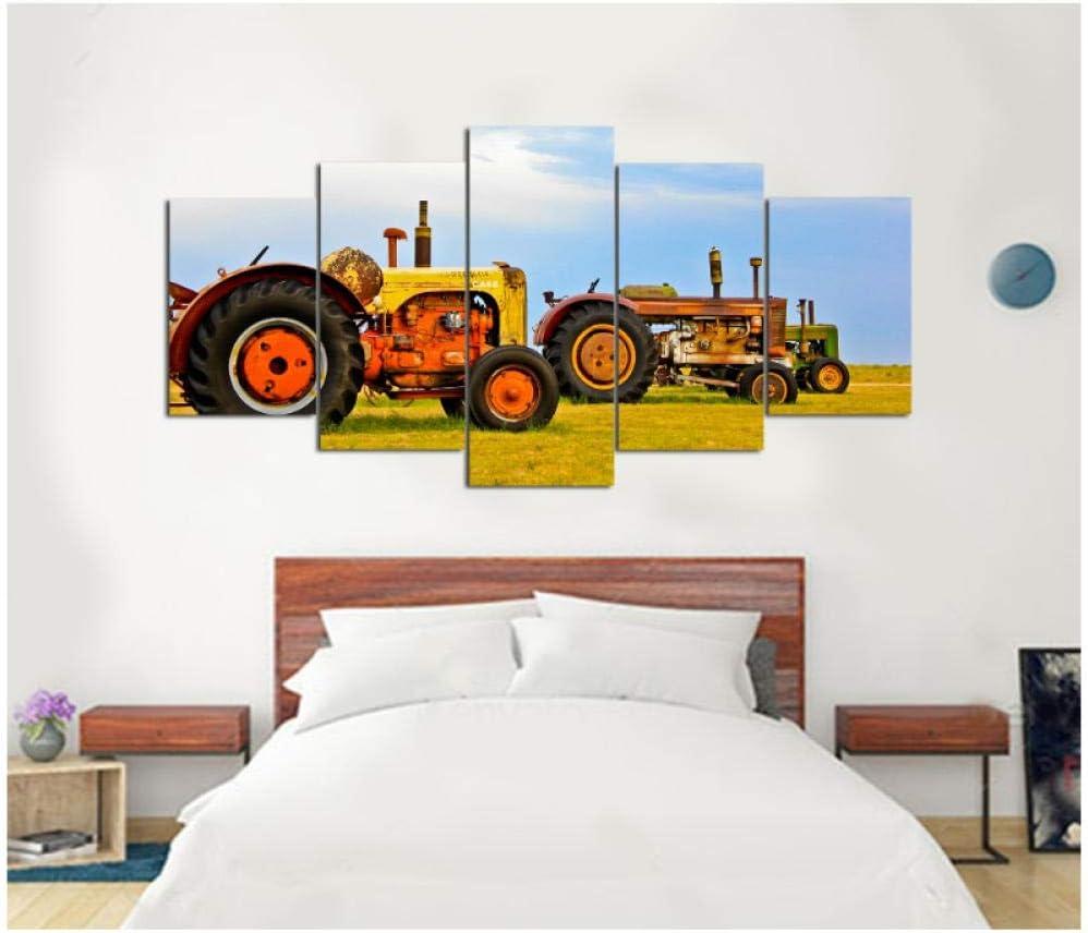 Tractor viejo de lona de 5 piezas en tierras de cultivo Cuadro de lienzo pintura decoración imprimir póster arte de la pared 40x60 40x80 40x100cm Sin marco