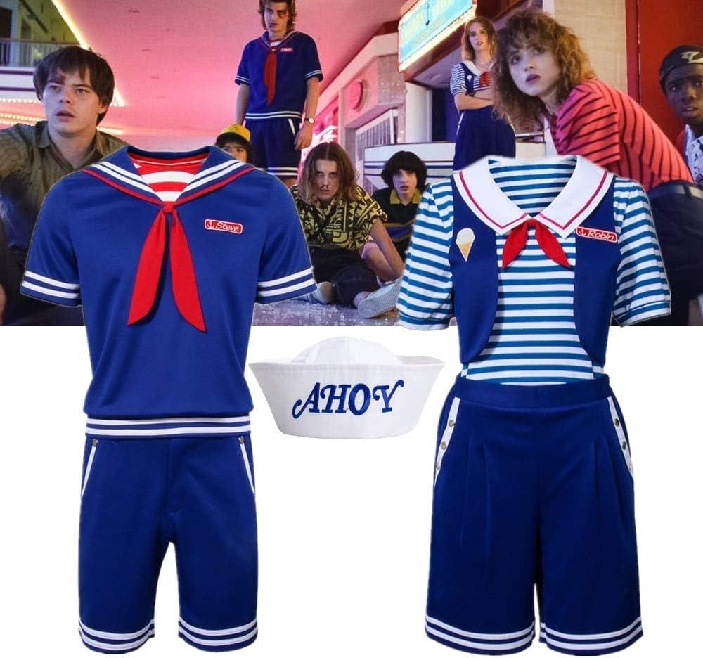 WSJDE for Stranger Things Steve Robin Scoops Ahoy Halloween Costume Adults Children Sailor Suit Shirt Vest Shorts Uniform XS Robin
