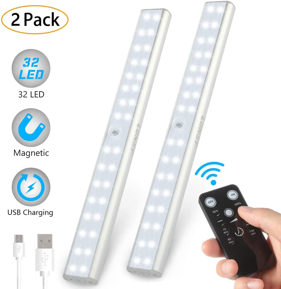 LUNSY 32LED Closet Light Rechargeable, Wireless Under Cabinet Lighting with Remote, 220lm,Stick-on Portable Under Counter Shelf Magnetic Light Bar for Kitchen, Wardrobe – 2Pack Silver