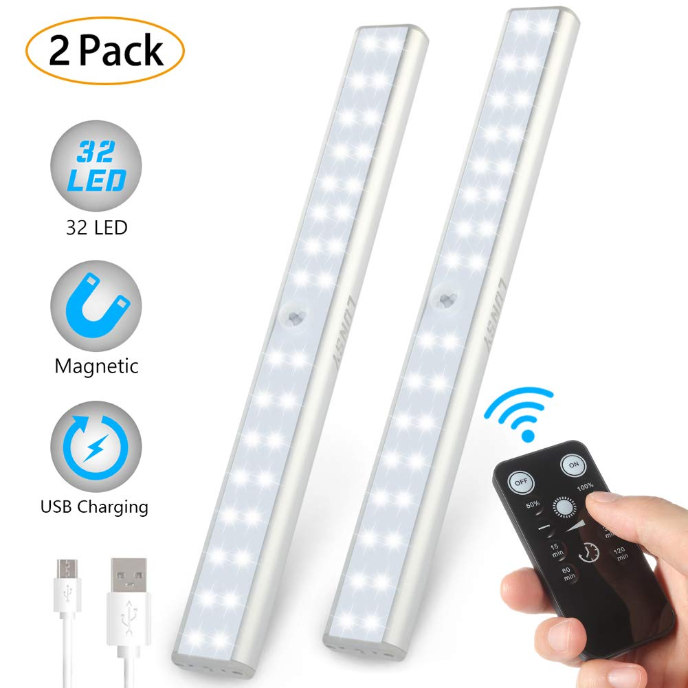 LUNSY Rechargeable Under Cabinet Lighting 32LED, Wireless Closet Light with Remote, 220lm, Stick-on Portable Magnetic Under Counter Shelf Light Bar for Kitchen, Wardrobe, Garage - 2Pack(Silver)