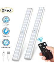 LUNSY 32LED Under Cabinet Lighting, Remote Control & USB Rechargeable Closet Light,Stick-on Anywhere Portable Wireless LED Under Cabinet Lights for Kitchen, Wardrobe, Closet, Garage - 2Pack