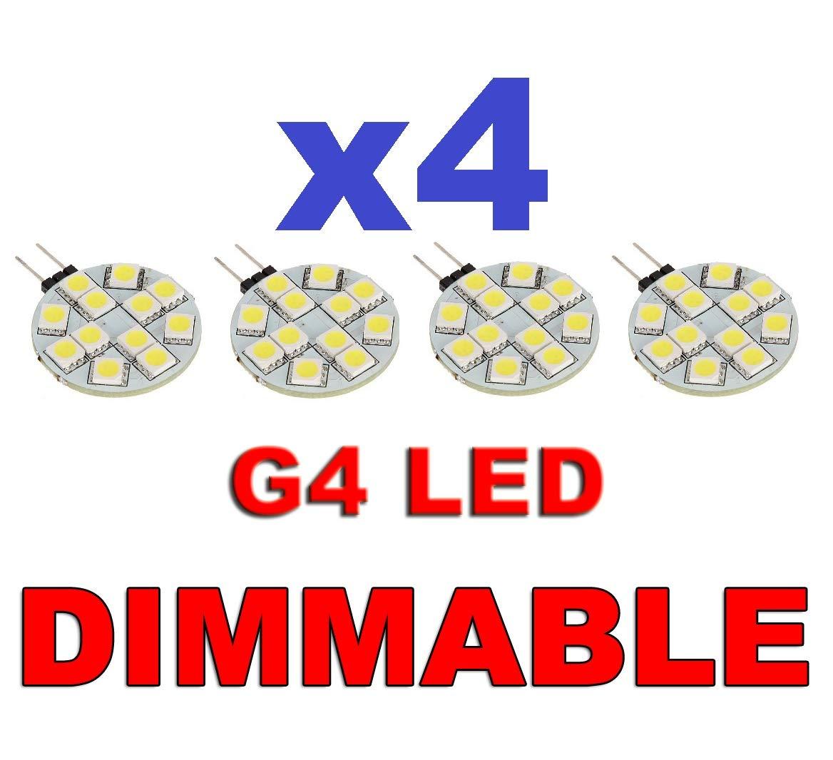Ampoule LED /à intensit/é variable G4/Slide broches 12/V 12smd 5050/rond Cercle Blanc Lumineux/ /caravane Bateau camping-car de cuisine Maison camping-car