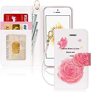 FYY Case for iPhone 5/5s/SE (1st gen-2016), [Kickstand Feature] Luxury PU Leather Flip Wallet Phone Case Folio Cover with [Card Holder][Wrist Strap] for iPhone 5/5s/SE (1st gen-2016) Flower