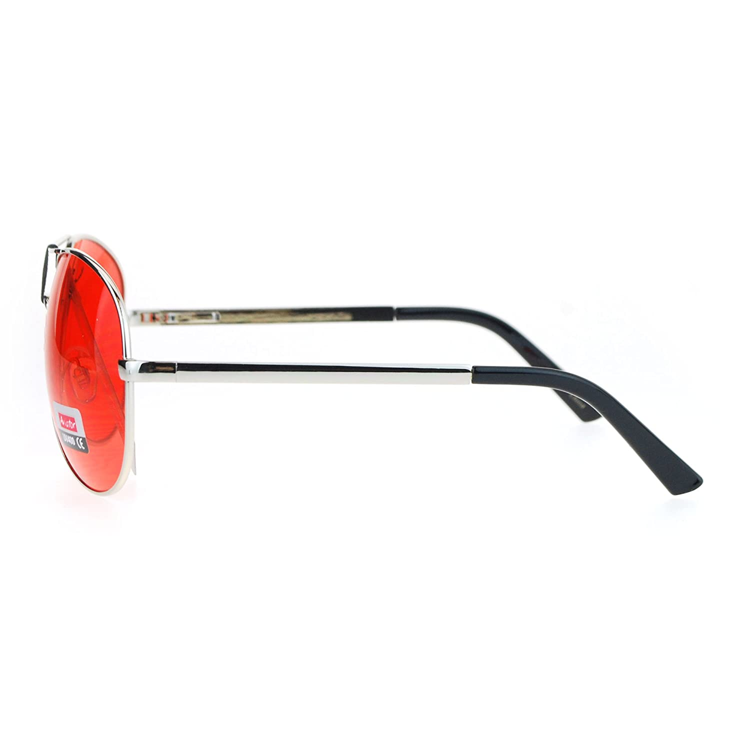SA106 Red Lens Hollywood Pilot Metal Rim Sunglasses