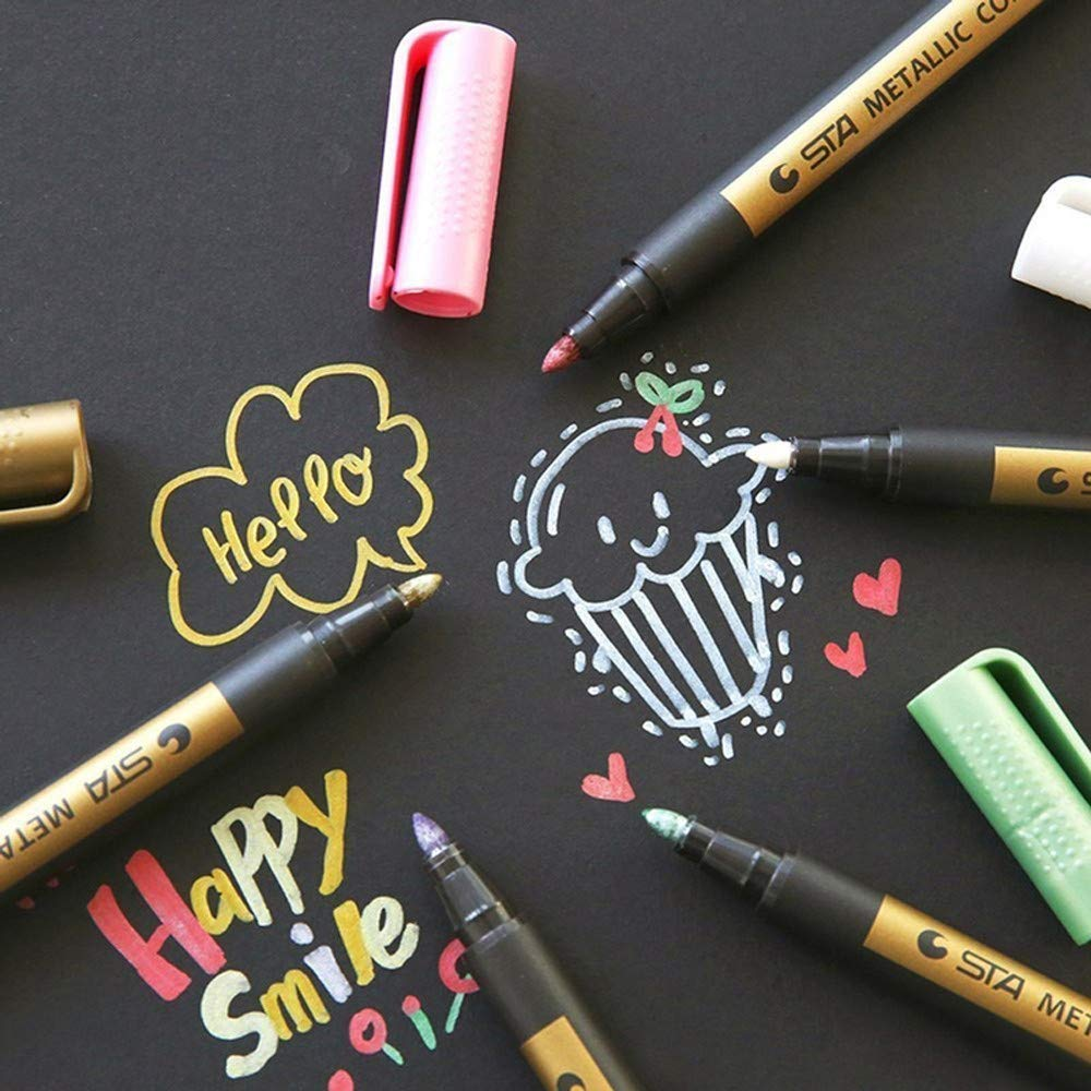 Metallic Markers Paints Pens,IGEMY Metallic Marker Pens Set of 2 Vibrant Color Art Paint Marker for Crafts Photo Scrapbook Album Glass Plastic Pottery Random