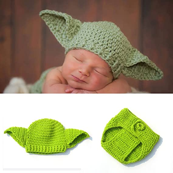 crochet green star wars baby yoda hat  photo props newborn to 12 months 0-12