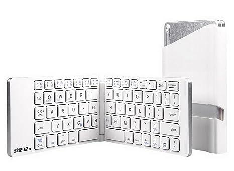 restbuy plegable Bluetooth teclado ergonómico inalámbrico teclado ultrafino teclado plegable magnético para iOS, Android,