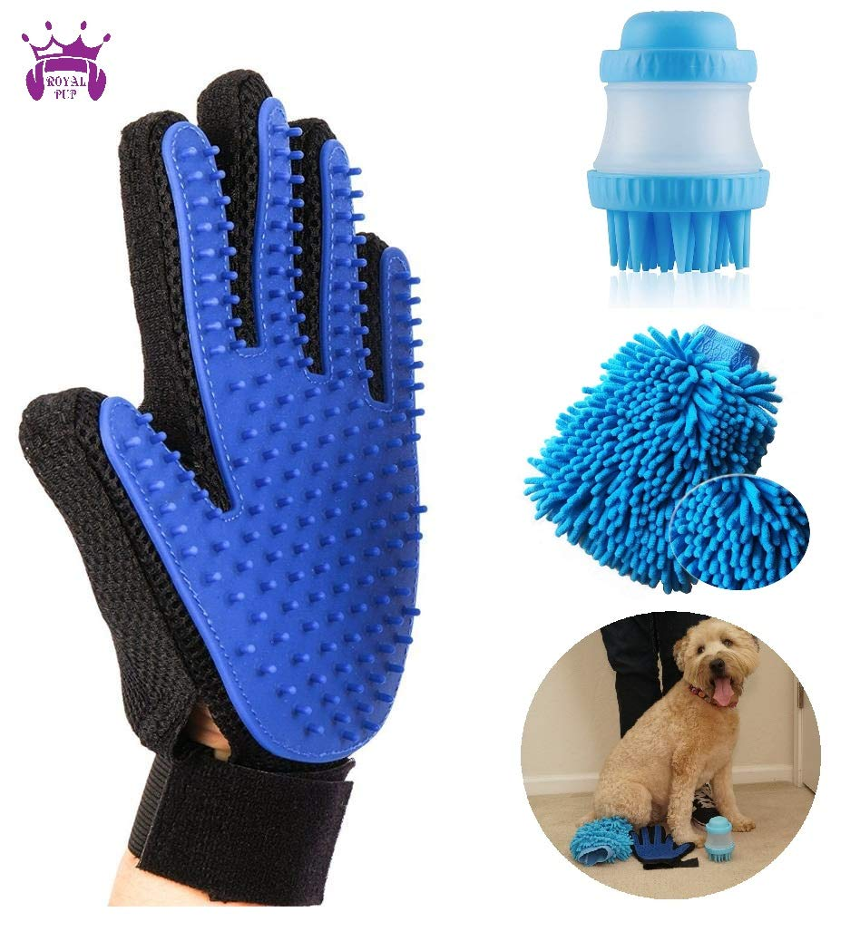 Royal Pup Upgraded Pet Grooming Glove | Premium 4 in 1 Dog Grooming Kit | Shampoo Massage Brush, Dog Towel + Free Mystery Item | Gentle + Easy to Clean Silicone for Pets, Dogs, Cats