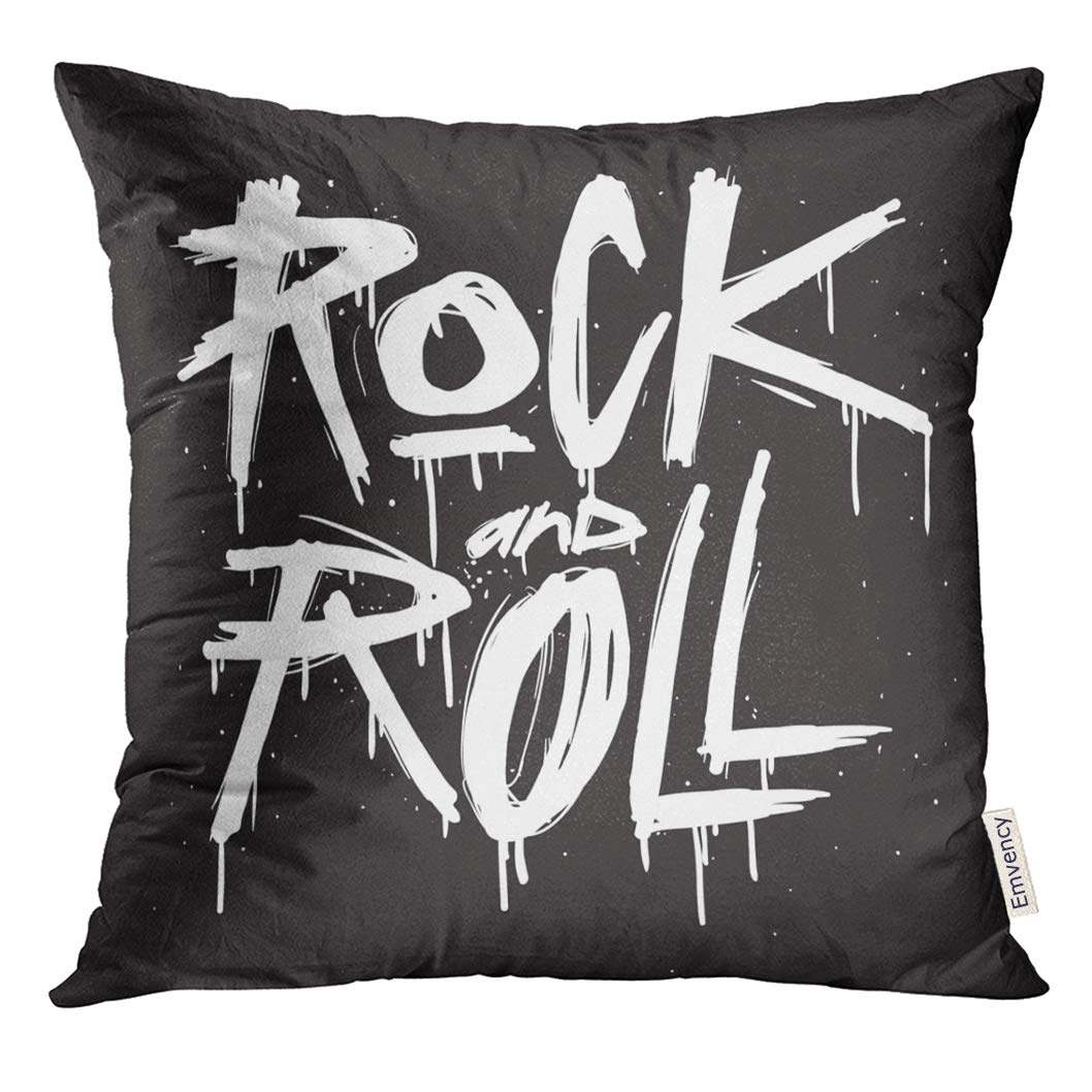 VANMI Throw Pillow Cover Old Hand Draw Sketch Rock And Roll RockNRoll Tattoo Text Cartoon Decorative Case Home Decor Square 18x18 Inches Pillowcase
