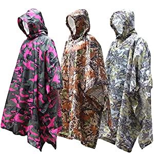 "XTACER Multi Use Rain Poncho 83""x55""/XL 3 in 1 Raincoat (Ground Sheet, Shelters, Poncho)"