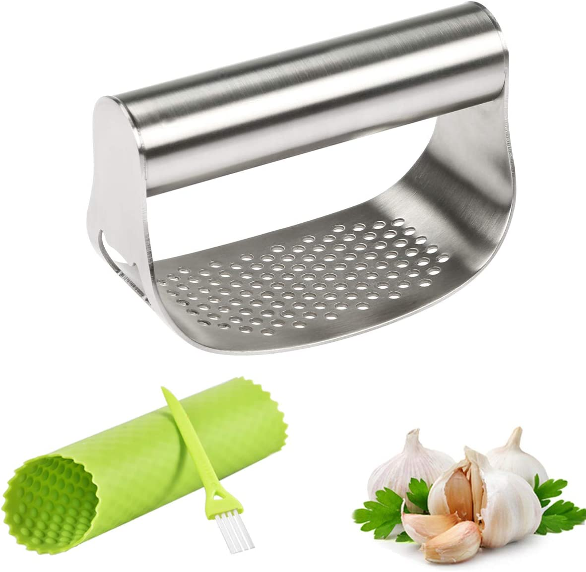 FAVIA Garlic Press Rocker Stainless Steel Crusher Mincer with Beer Opener, Silicone Tube Peeler & Cleaning Brush - Dishwasher Safe Sturdy Kitchen Gadgets (Super Rocker)