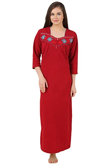 e3d40a2316 Fasense Exclusive Women Fleece Winter Nightwear Sleepwear Long Nighty