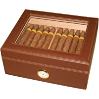 AMANCY Quality Brown Leather Handmade 25-50 Cigar Humidor ,Desktop Cedar Wood Lined Cigar Storage box with Glasstop