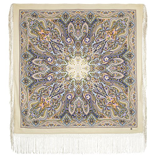 Pavlovo Posad Russian Shawl Pashmina Scarf Wrap Plus Size Beige Wool 58x58'' NEW 2017