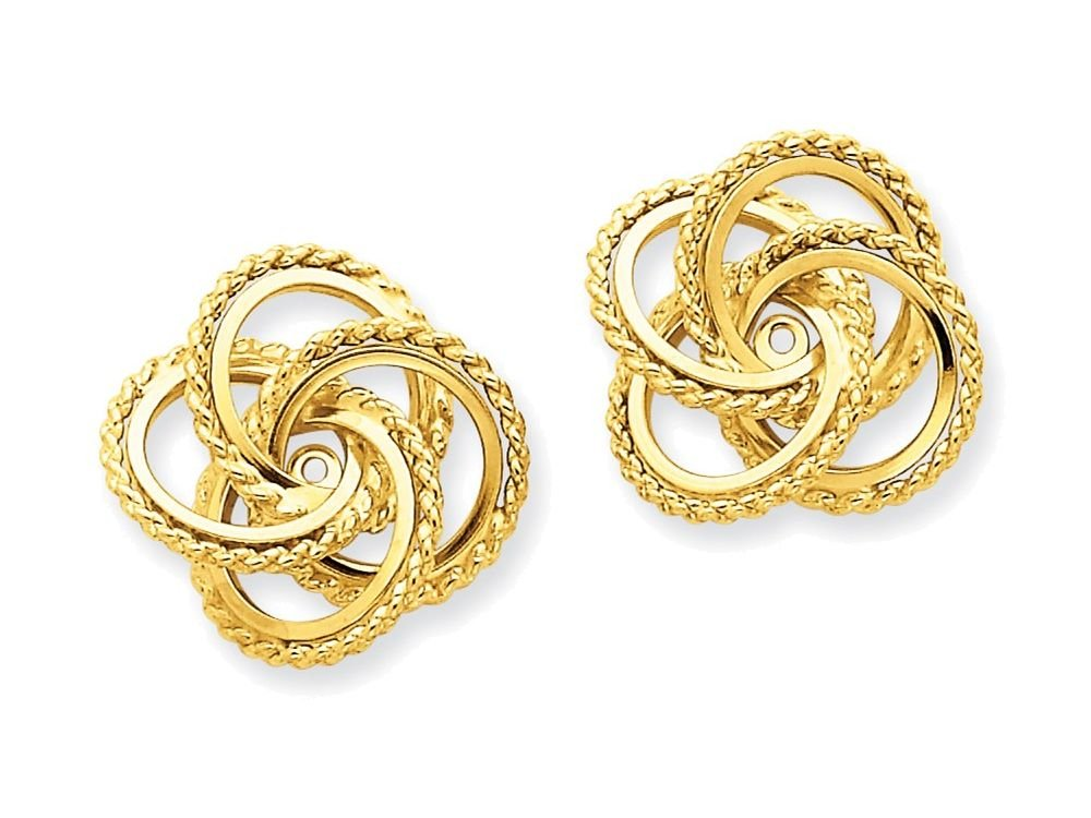 14k Yellow Gold Polished and Twisted Fancy Earring Jackets