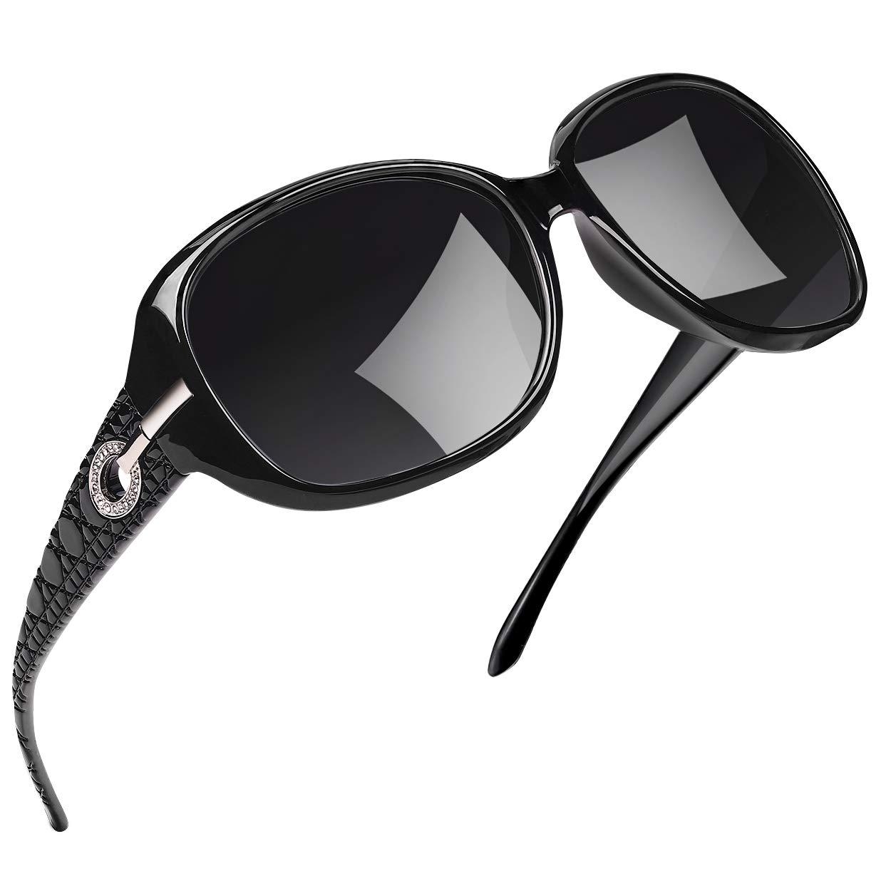 Joopin Polarized Sunglasses for Women Vintage Big Frame Sun Glasses Ladies Shades (Black) by Joopin