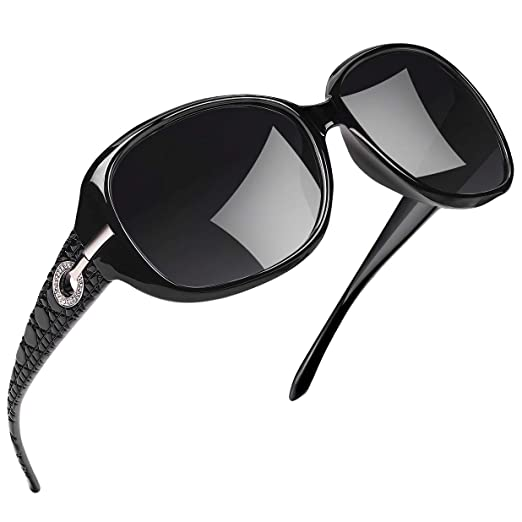 fec30b4bb Joopin Polarized Sunglasses for Women Vintage Big Frame Sun Glasses Ladies  Shades (Black)