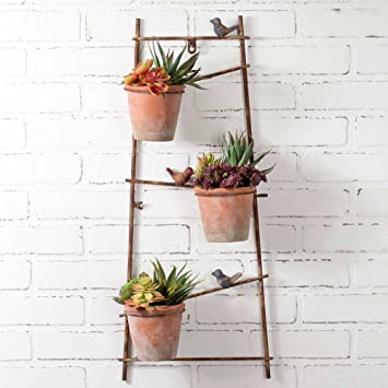 Amazon Com Rustic Metal Wall Mounted Trellis Planter With Three
