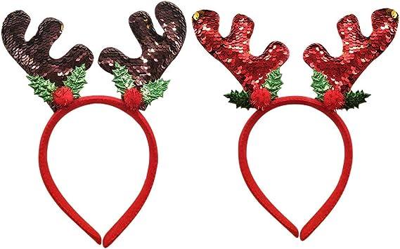 Set di 2 cerchietti natalizi con orecchie da renna e renna Amosfun