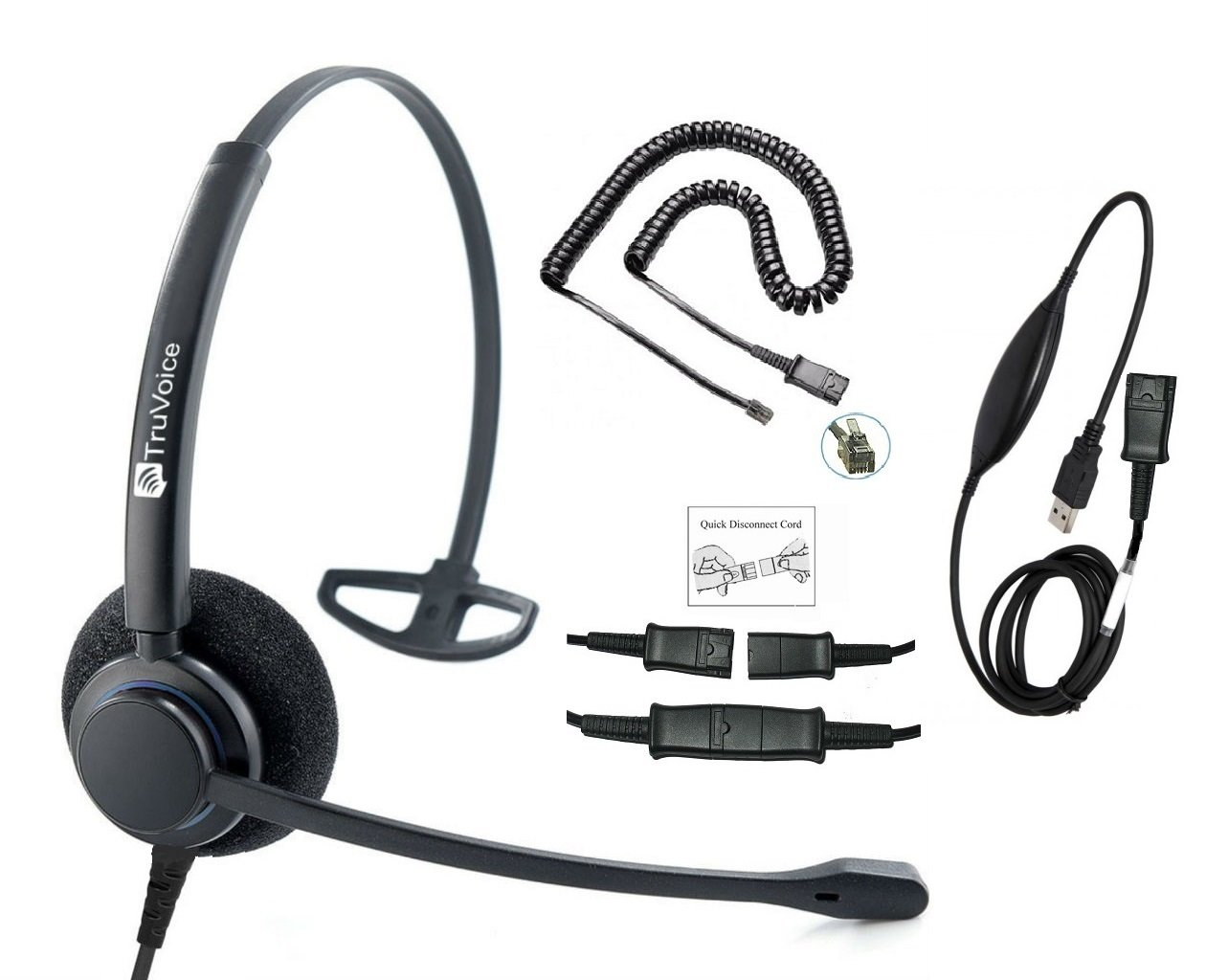 TruVoice HD-100 Professional Corded Single Ear NC Headset With USB and U10P Cable works with Mitel, Polycom VVX, Nortel, Avaya Digital, Analog Deskphones and PC (Softphone) - Complete Solution