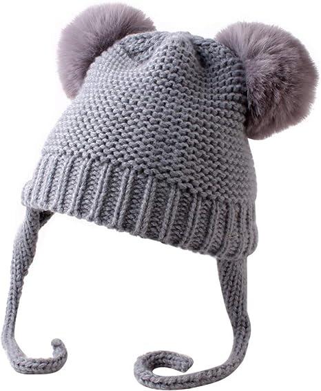 Newborn Baby Boys Girls Double Balls Soft Hat Winter Warm Knit Bobble Beanie Cap